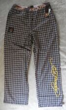 Ed Hardy Men's Woven Button Fly Sleep Pants Color Navy/Red Size M 32-34 New