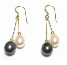 Genuine Black & White Pearl 14K Gold Filled Double Dangle Hook Earrings