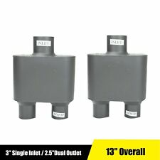Pair Of 3 Single Inlet 25dual Outlet Performance Chamber Race Exhaust Muffler