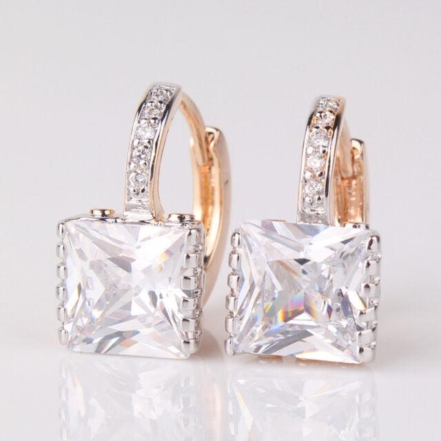 Women Swarovski Crystal 18k Multi-Tone Gold Filled Stud Hoop Earrings Jewellery