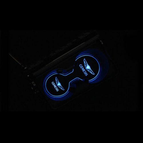 LED Cup holder inside Console Plate Blue for Hyundai Genesis Sedan 2015~2016