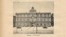 Stampa antica CATANIA Palazzo dell' Università Sicilia 1891 Old antique print