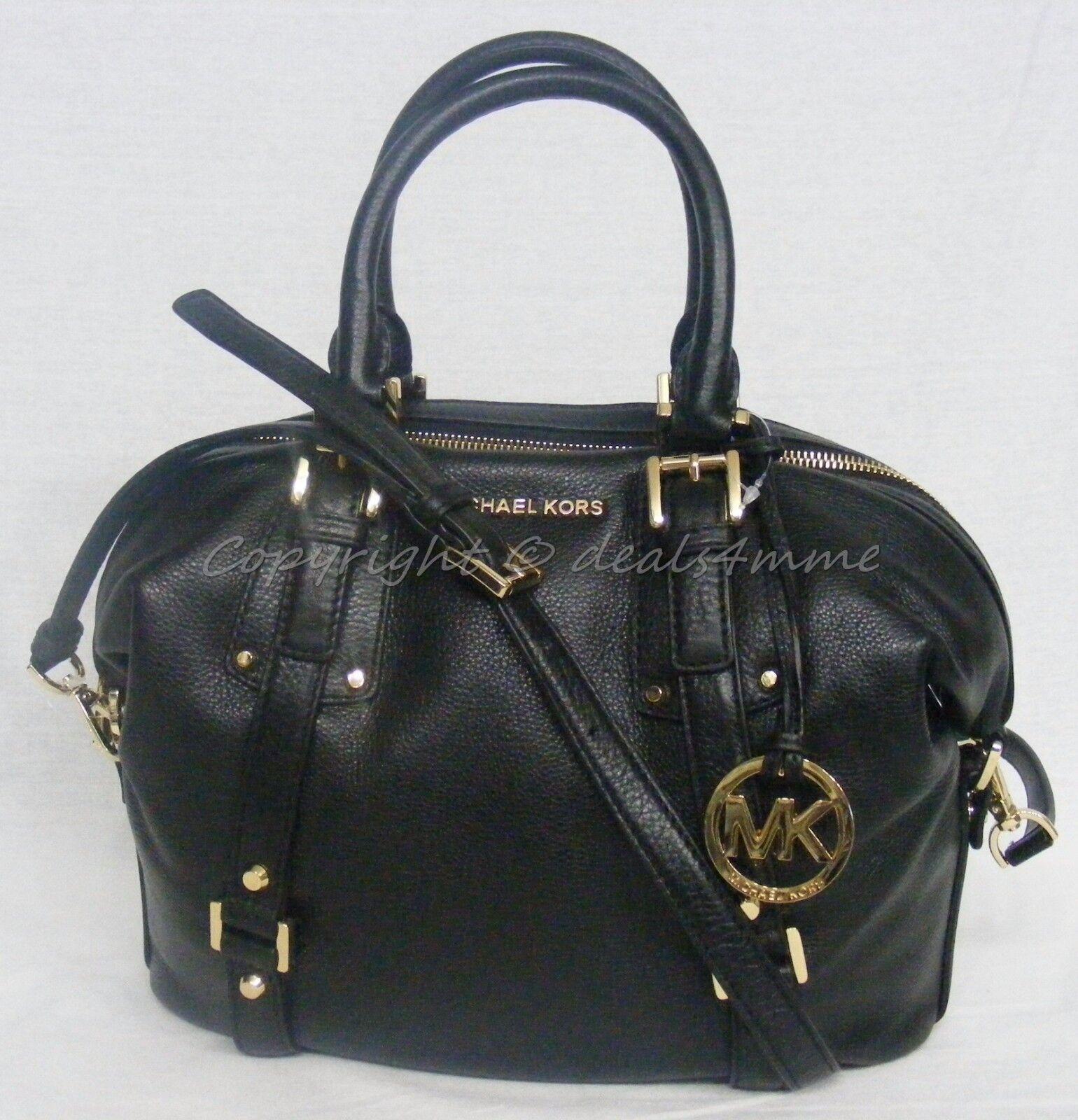 NWT Michael Kors Bedford Belted Medium Leather SatchelShoulder Bag in Black