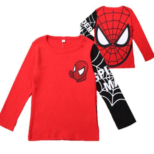 Kids Boys Baby Girls Spiderman T-shirt Long Sleeve Casual Tops Tee Shirt Xmas