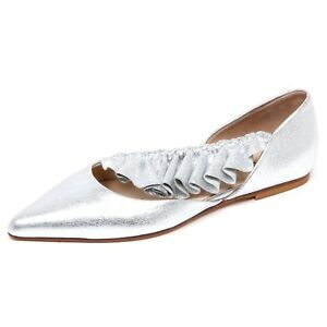 the latest c7c49 361be Details about F4172 ballerina donna silver ANNA BAIGUERA MALIKA scarpe  crackled shoe woman