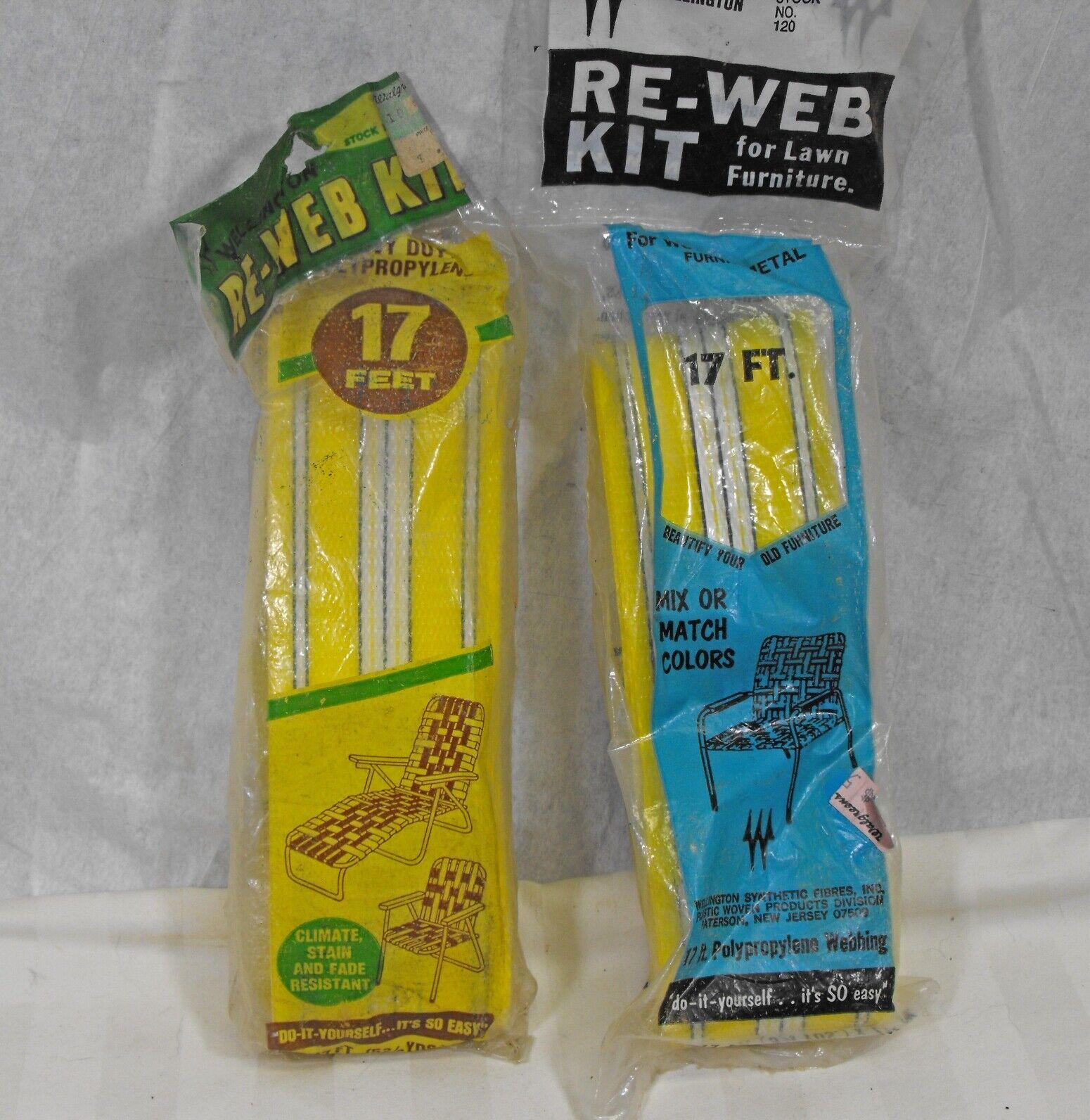 Vintage Aluminum Lawn Chair Webbing Re Web Kit Lemon Yellow Striped Nos 34 Feet For Sale Online