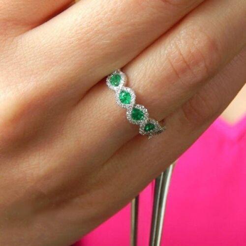 Elegant 14K White Gold Filled Emerald Gems Ring Wedding Women Jewelry Size 6-10