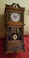"Vintage 20"" Wood Grandfather Clock Jewelry Music Box Play Raindrops Keep Falling"