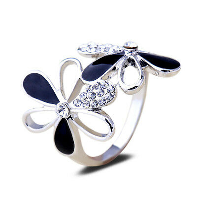 18K White Gold Plated Double Flowers Crystal Ring Elegant Jewelry CZ Rhinestone