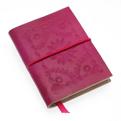 Fair Trade Handmade Small Fuchsia Pink Embossed Leather Notebook Diary