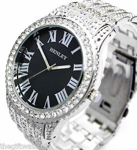 Henley-Mens-Real-Crystal-Bling-Silver-Tone-Watch-with-Mega-BIG-Black-Dial-NEW