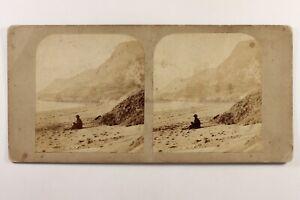 Donna Alla Spiaggia Romantico Artistico c1865 Foto Stereo Vintage Albumina