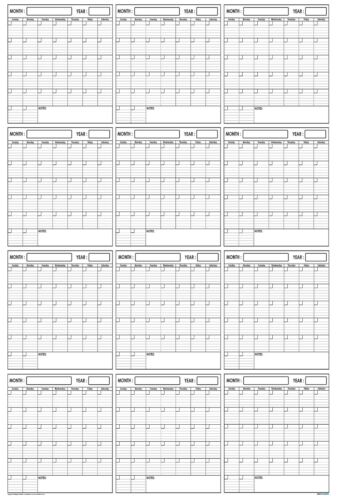 32x48 Wet /& Dry Erase Blank Reusable Undated Annual Yearly Wall Calendar Planner