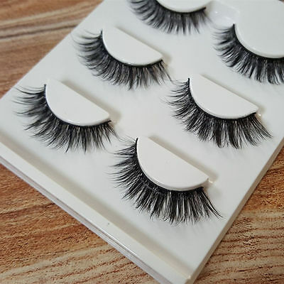 3 Pairs Faux Mink Natural Cross Long Thick Eye Lashes False Eyelashes Proper