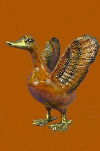 Lost-Wax-Method-Duck-Vienna-Bronze-Artwork-Sculpture-Statue-Hot-Cast-Figurine-NR