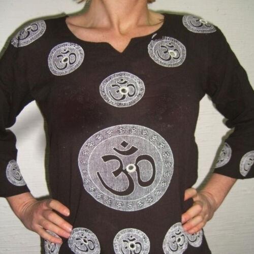 Hemd Kurta Tunika Obereil Damen Goa,Hippie Indien OM Spiegel Schwarz S