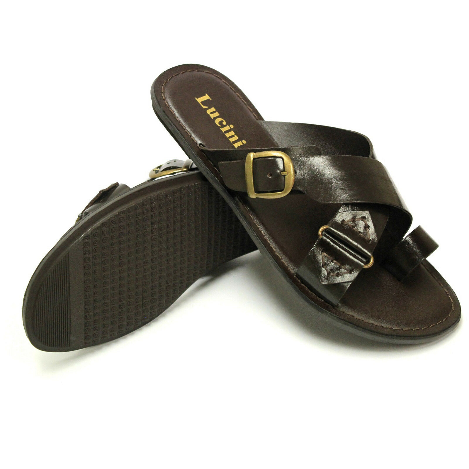BRAND NEW LUCINI ORLANDO SUMMER BEECH MEN'S LEATHER BUCKLE SANDALS 61246 BROWN