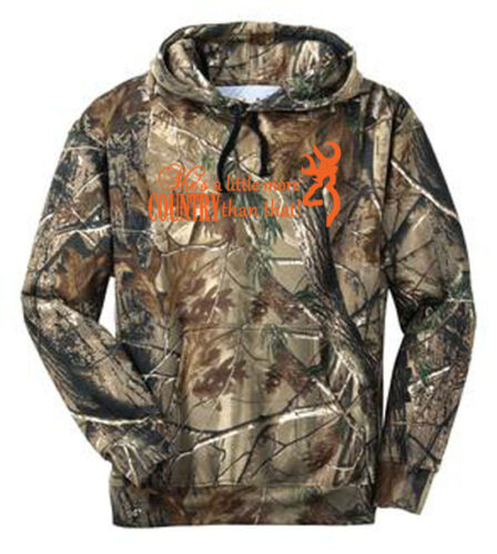 """3XL /""""She/'s A Little More Country Than That/"""" Sweat Shirt Ladies Camo Hoodie S"""
