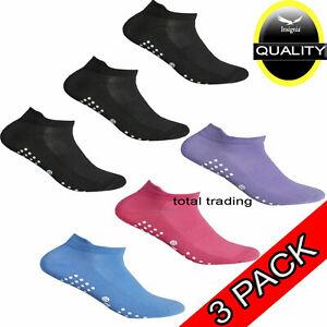 3pr Ladies Trainer ANKLE Socks Liner Yoga Sock Womens Sports Non Slip Gripper