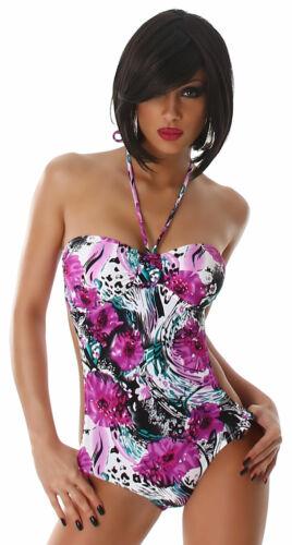 Neckholder Badeanzug Design Beachwear Strand Bademode Blumen elegant Größe Neu
