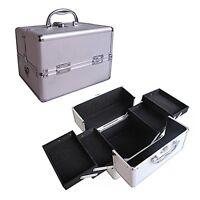 "10"" Pro Aluminum Makeup Train Case Jewelry Box Cosmetic Organizer Silver 4 Trays"