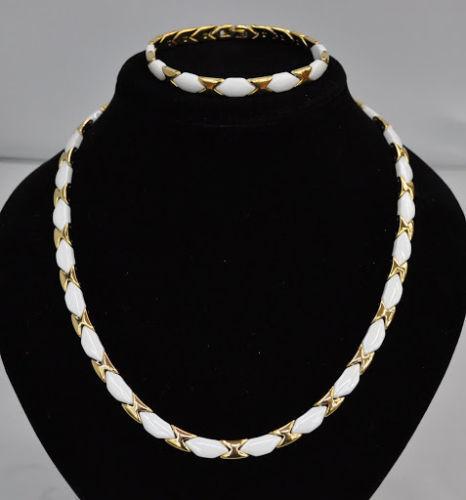 Collier Halskette Armband Edelstahl gold Keramik weiß Kette Elegant Schmuck Set
