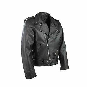 New-Mens-Motorcycle-Perfecto-Brando-100-Real-Leather-Jacket-Black-Biker-3XL-M-L