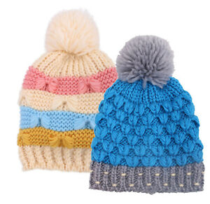 541c66e44bb 2 Pcs Set Kids Toddlers Chunky Cable Knit Yarn Pompom Beanie Winter ...