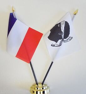 France & Corsica Double Friendship Table Flag Set