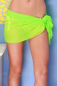 a5018c6be4a NEON GREEN SHORT MESH SHEER SARONG Beach Cover-up Wrap Skirt ~ MADE ...