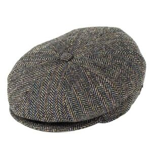 Image is loading Bailey-Hats-Galvin-Wool-Bakerboy-Cap-Black-Herringbone f48d42d1f1b