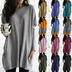 Plus Size Women Long Sleeve Jersey Tunic Top Dress Loose Jumper Pullover Blouse