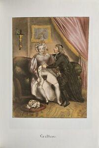 EROTIC DOG sesso pene breast vagina erotico Antique love natura lithography 1840