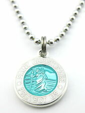 Mini Saint Christopher Medal Necklace Protector of Travel aq-wh Aquamarine White