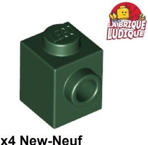 Lego - 4x Brique Brick Modified 1x1 stud 1 side vert foncé/dark green 87087 NEUF