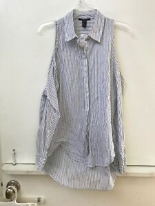 best service popular brand new product Details about NWT Forever 21 Navy Blue White Striped Cold Shoulder Top  Button Blouse Small