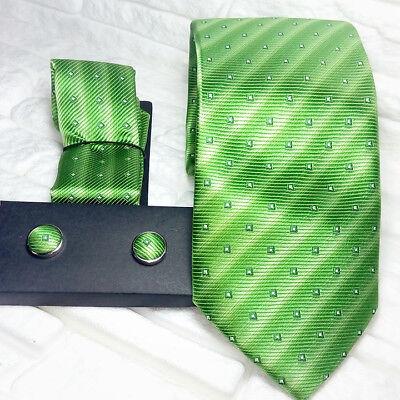 Cravatta Uomo Con Gemelli Coordinati E Pochette 100% Seta Made In Italy Handmade