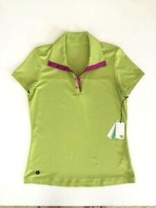 Ladies-Short-Sleeve-Golf-Shirt-Lime-w-Hot-Pink-Small