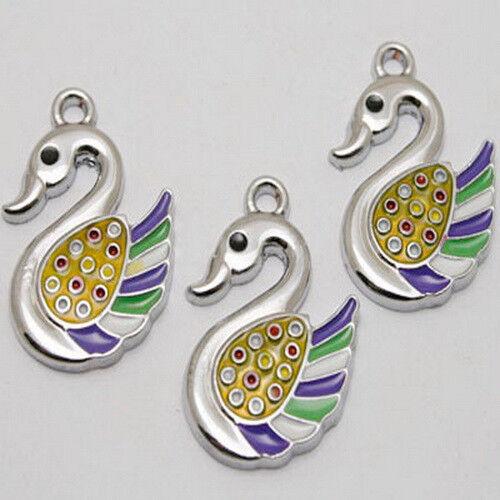 6pcs enamel swan charms//pendants w1019