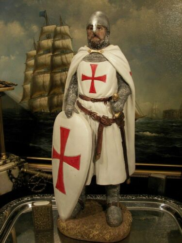 """Hand Painted Medieval Crusader Knight  Figure  Realistic Perfect Gift 41 cm//16/"""""""