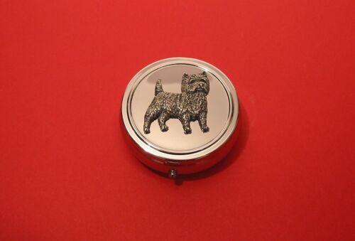 Cairn Terrier Pewter Motif Round Mint Pill Box Mother Vet Pet Christmas Gift