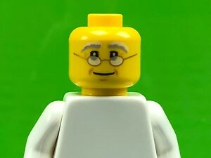 LEGO-Minifigure-Head-Glasses-with-Gold-Frame-White-Gray-Eyebrows-Male-Dad