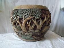 Cache pot en bois sculpté décor éléphant