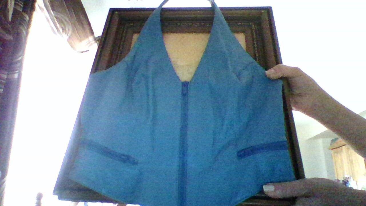 VTG Wilsons Leather Bright bluee Zip Up Halter Motorcycle Motorcycle Motorcycle Vest Top L 258368