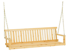 Traditional Wood Porch Swing 5 ft Patio Outdoor Hanging Chain Bench with Chains