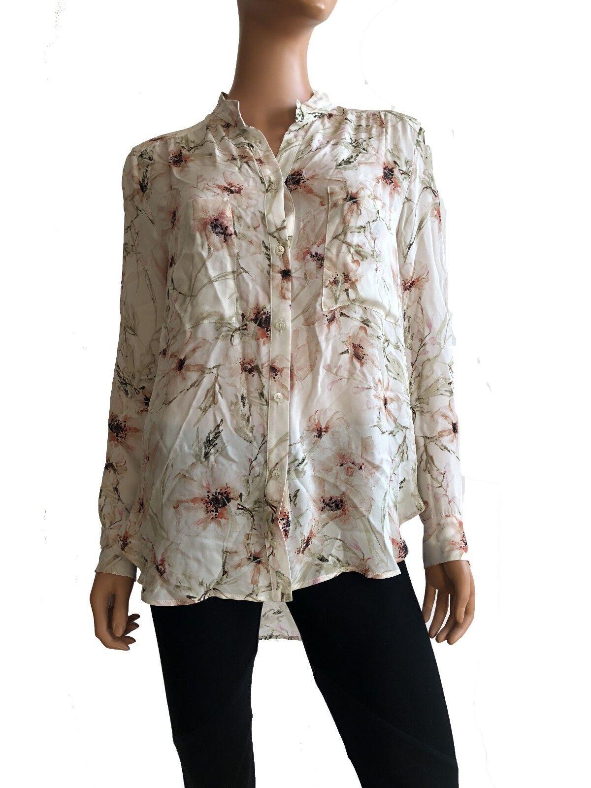 Haute Hippie Long Sleeve  Floral Print Silk Blouse Größe M