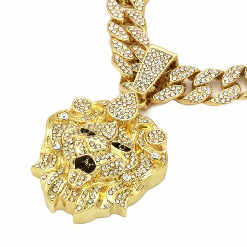 Paquete De 5 piezas 14k Chapado en Oro Cadena de Hip Hop de circonita cúbica CZ Colgante De León Grande