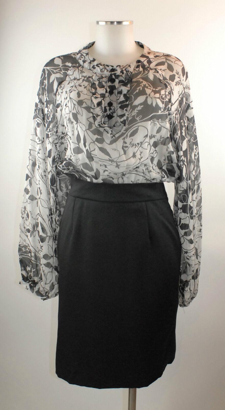 Nolita Kleid schwarz Weiss 36 38 (ital. 42) Seide Wolle wie neu Luxus dress robe