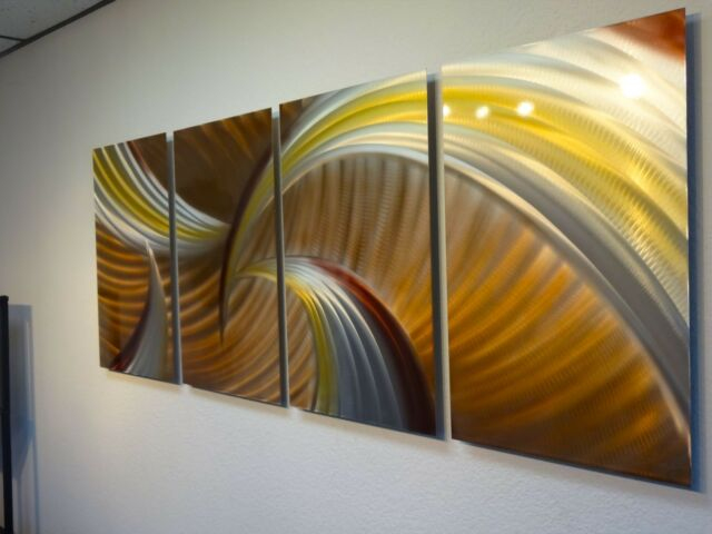 Abstract Metal Wall Art- Contemporary Modern Decor Tempest Bronze 36x79
