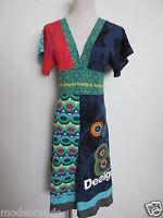 Kimono Kleid DESIGUAL Jersey Baumwolle S ca 34 blau grün TIP TOP/B6